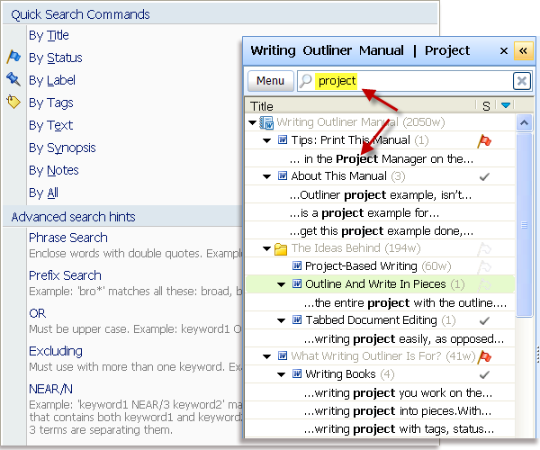 Full-text search into all Word documents in a writing project!