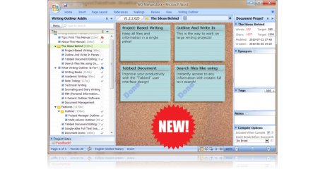 Writing Outliner main screenshot - corkboard view