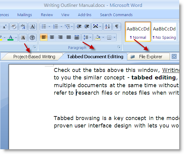Tabbed Word document editing