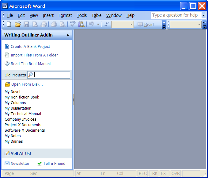 Writing Outliner Screenshot - Welcome Pane